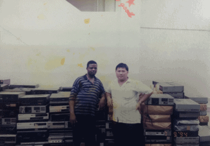 Mr. Toh at an even older photograph. We used to be located at Blk 4 Joo Seng Road before we moved to our current premise. Look at the video players behind? They are the great deal of those days.